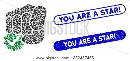 Mosaic For You Only And Grunge Stamp Watermarks With You Are A Star Exclamation Text. Mosaic Vector