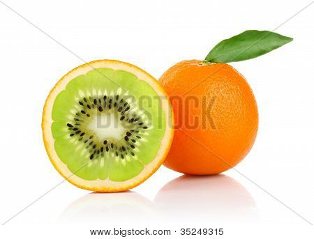 creative conception of orange and isolated on white background poster