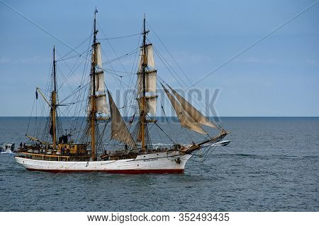Cleveland, Oh - July 11, 2019: The Barque Picton Castle, Whose Homeport Is Lunenburg, Nova Scotia, S