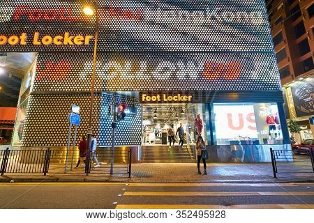 HONG KONG, CHINA - CIRCA JANUARY, 2019: a Foot Locker store in Hong Kong. Foot Locker Retail, Inc. is an American sportswear and footwear retailer.