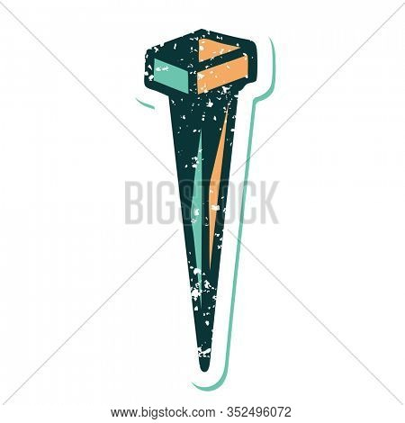 iconic distressed sticker tattoo style image of iron nail