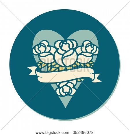 sticker of tattoo in traditional style of a heart and banner with flowers