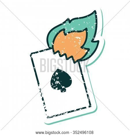 iconic distressed sticker tattoo style image of a flaming card