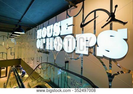 HONG KONG, CHINA - CIRCA JANUARY, 2019: House of Hoops sign seen at a Foot Locker store in Hong Kong. Foot Locker Retail, Inc. is an American sportswear and footwear retailer.