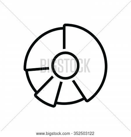 Black Line Icon For Pie-chart Piechart Diagram Blueprint Layout Chart Profit Draft Circular Graph In