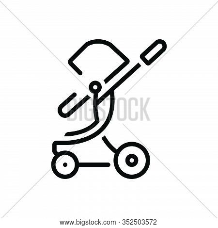 Black Line Icon For Toddler-rocker Stroller Straggler Pushchair Buggy Carriage Infant Care Child Bab