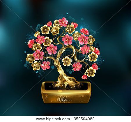 Sakura Jewelry Bonsai With Golden Trunk Decorated With Gold And Red Shiny Flowers On Turquoise Backg