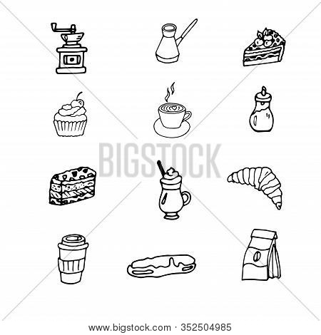 Set Of Hand Drawn Cups Of Coffee, Cake, Muffin, Eclair, Croissant , Cappuccino, Sugar, Coffee Grinde