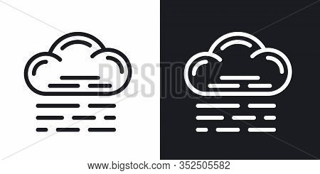 Fog, Mist Or Haze Icon For Weather Forecast Application Or Widget. Two-tone Version On Black And Whi