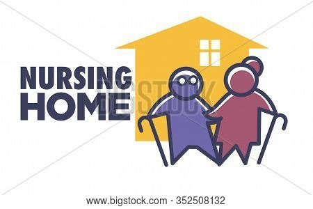 Elderly Nursing Home Isolated Icon, Senior People With Canes