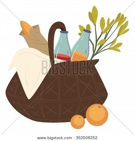 Basket With Food For Picnic Or Eating Out
