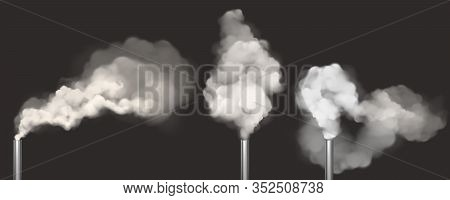 Chimneys With Smoke, Pipes With Steam Set. Industrial Smog White Clouds, Factory Or Plant Flues Isol