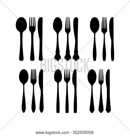 Spoon Fork And Knife - Cutlery Icon Silhouette Set, Set Of Cutlery Icon Silhouette, Spoon Fork Knife