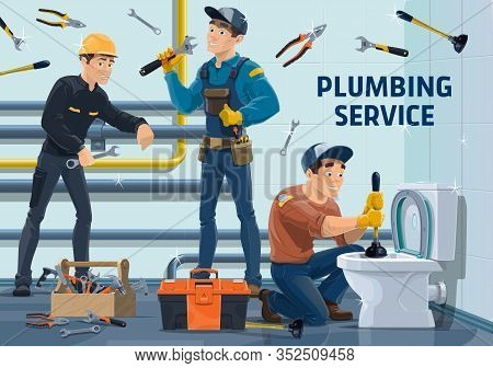Plumbers With Work Tools. Vector Characters Of Plumbing Repair And Maintenance Service. Cartoon Plum