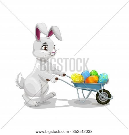 Bunny Or Rabbit Carrying Easter Egg Hunt Wheelbarrow, Religion Holiday Egghunting Party. Vector Hare