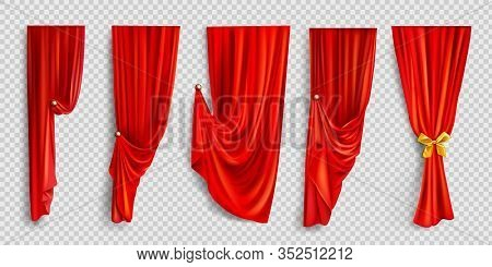 Red Window Curtains Set, Folded Cloth For Interior Decoration Isolated On Transparent Background. So