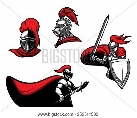 Medieval Knights With Swords, Vector Heraldic Icons. Roman Warrior Or Guard With Blade In Armour Wit