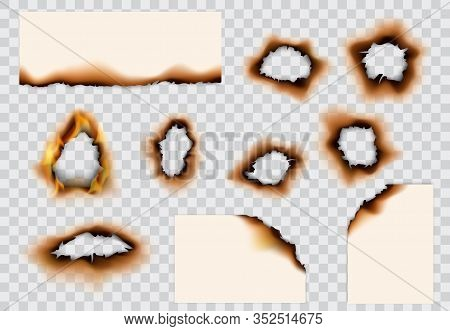 Burnt Paper Hole, Page Edges And Corners. 3d Vector With Realistic Fire Flames, Ashes And Brown Burn