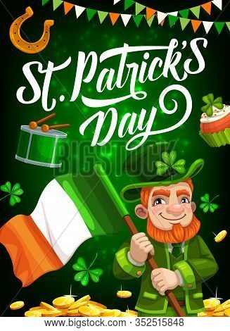 Irishman With Flag Of Ireland Vector Design Of St Patricks Day Holiday. Green Clover Leaves Or Shamr