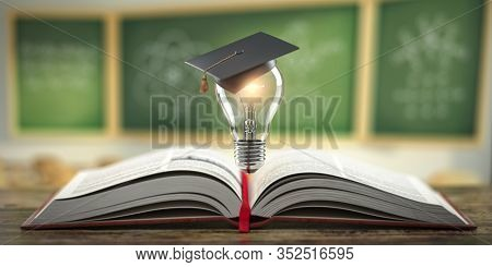 Education, learning on school and university or idea concept. Open book with light bulb and graduation cap on classroom blackboard background. 3d illustration