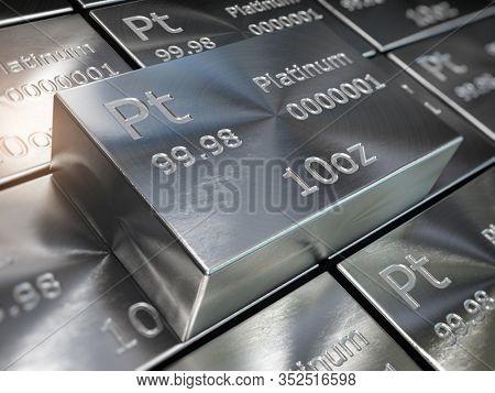 Platinum bars or ingots background. Precious metals. 3d illustration