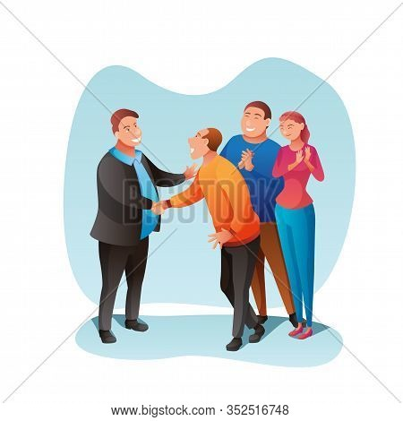 Election Campaign Flat Vector Illustration. Politician Meeting With Electorate, Candidate Handshakin