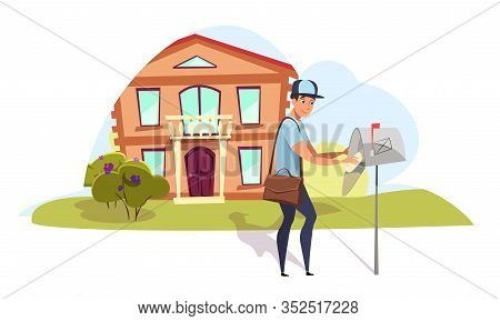 Postman Delivering Mail Flat Vector Illustration. Young Mailman, Courier Putting Correspondence To M