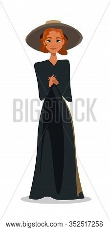 Woman In Black Dress Flat Vector Illustration. Red-haired Curly Girl, Elegant Lady Wearing Black Gow