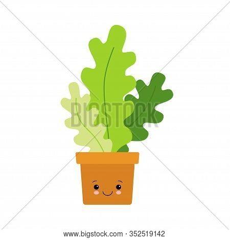 Adorable Kawaii Houseplant Vector Art. Kawaii Faces Flower Pot. Cute Big Eyes Emoticon