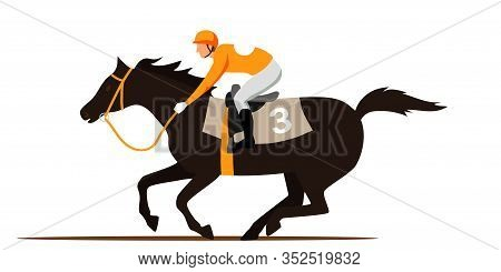 Horse Racing Competition Flat Vector Illustration. Competitor Cartoon Character. Professional Jockey