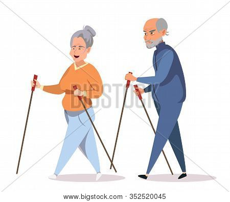 Seniors On Outdoor Stroll Flat Vector Illustration. Old Couple, Aged Husband And Wife In Sportswear