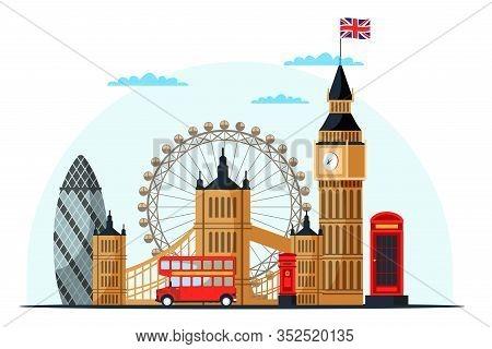London Cityscape Flat Vector Illustration. Great Britain Tourist Attractions Cliparts. World Famous
