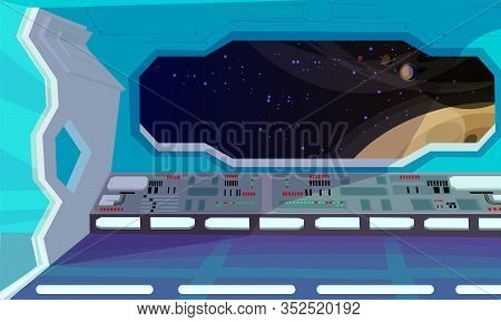 Spaceship Interior Flat Vector Illustration. Window View Of Planet From Sci-fi Space Shuttle. Cartoo