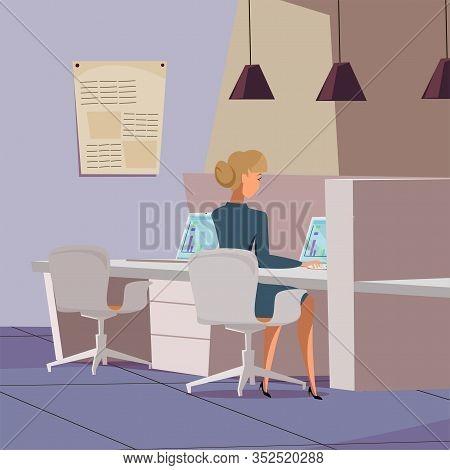 Female Company Worker Flat Vector Illustration. Businesswoman, Analyst In Open Space Office Cartoon