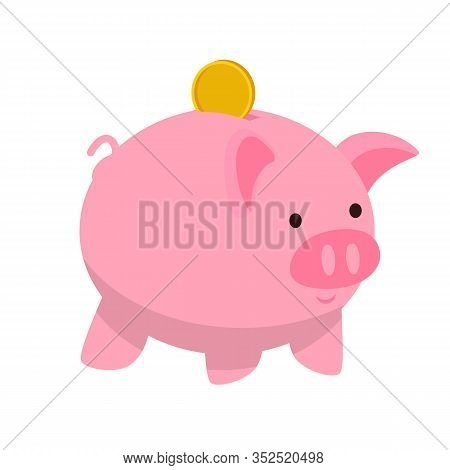 Piggy Bank Flat Vector Illustration. Money Investing, Funding. Banking And Financial Institution Sym