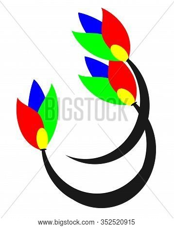 Graphic Flower Illustration. Colorful Flowers, Contour Flowers, Blooming Flowers, Decorative Flowers