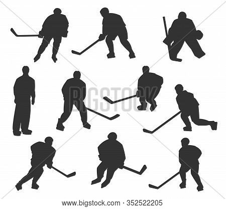 Ice Hockey Sport Players Vector Silhouettes. Playing To Ice Hockey Goalkeeper, Forward, Winger And D