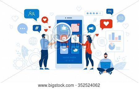 People And Comprehensive Mobile Application Social Media Audit. Man With Magnifying Glass And Woman