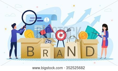 Businesspeople Develop Marketing Brand Strategy And Studying Large-scale Advertising Campaign. Man A