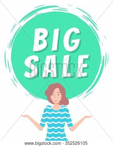 Big Sale And Best Price In Shops Capture On Green Circle Field. Good Deal For People. Happy Brunette