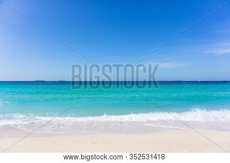Aerial View Of Turquoise Ocean Waves In Pattaya Beach, Thailand. Beautiful Sandy Beach With Turquois