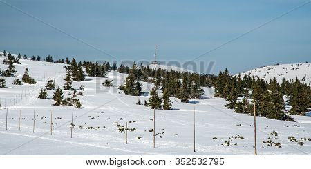 View To Praded Hill With Communication Tower From Hiking Trail Bellow Pecny Hill In Jeseniky Mountai