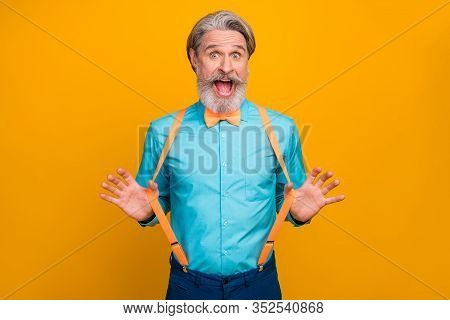 Photo Of Handsome Cool Clothes Grandpa Amazed Good Mood Ready For Party Chilling Celebrating Wear Bl