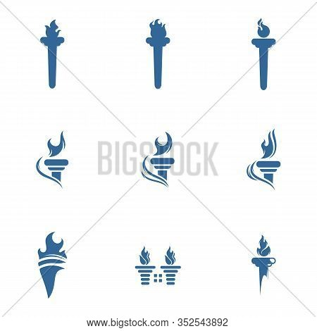 Set Of Torch Logo Design Symbols Template, Fire Torch Victory Championship Flame Flat Vector Icons
