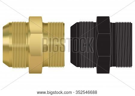 Zinc Hose Pipe Connectors And Black Drawing. Vector Illustration Isolated On White Background