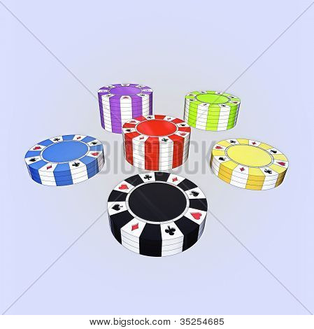 Five Colorful Types Of Poker Chips Columns Isolated On Light Blue Background