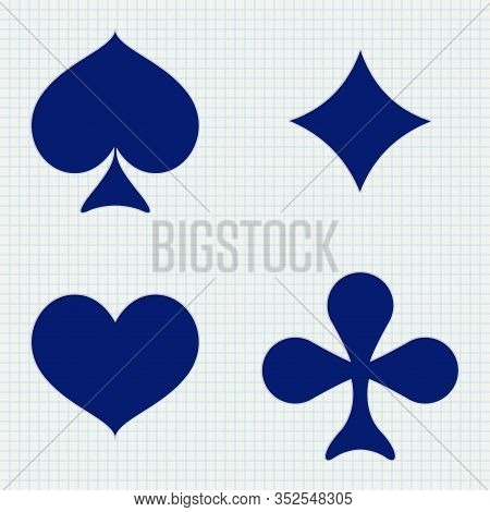 Four Cards Suits - Diamonds, Clubs, Spades, Hearts. Vector Illustration On Lined Paper Background
