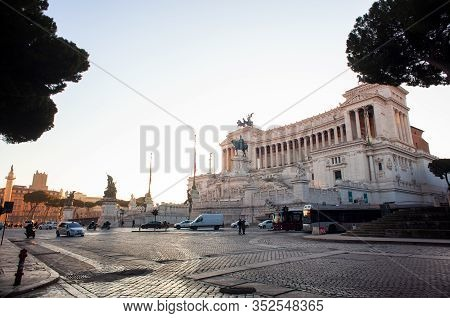 Rome, Italy - January, 08:  View Of The Victor Emmanuel Ii National Monument  Or Mole Del Vittoriano