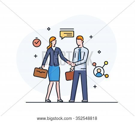 Businessmen Shake Hands With Businesswoman. Virtual Communication Smartphone. Cooperation Interactio