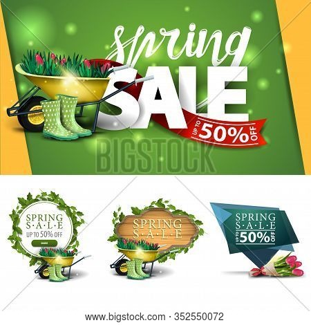 Collection Of Spring Discount Banners In Various Styles For Your Creativity. Spring Discounts Banner